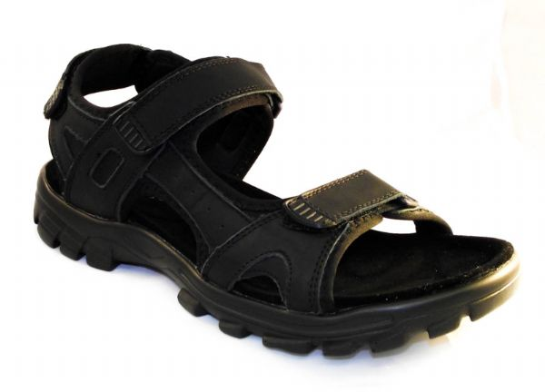 Triple Velcro black leather Sports Sandal